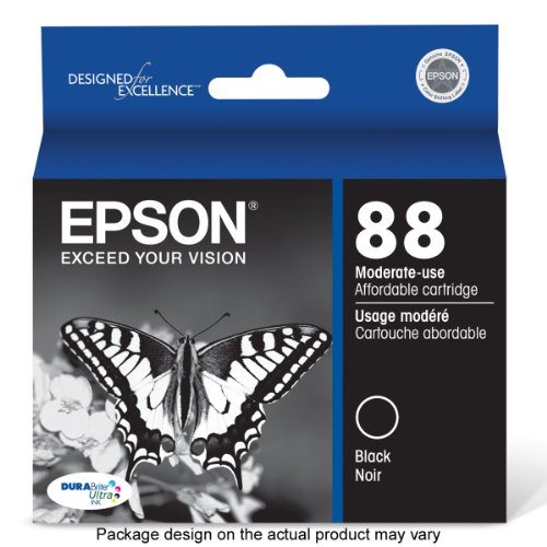 Epson T088120 DURABrite Ultra 88 Moderate-use Inkjet Cartridge -Black картридж для принтера hp c8767he 130 black inkjet print cartridge
