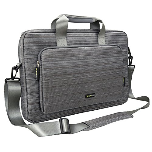 Evecase 17 – 17.3 Inch Classic Padded Briefcase Messenger Bag with Shoulder Strap and Handle for Laptop Notebook Ultrabook Chromebook Computer – Gray