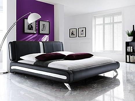 Expendio 44848145 Polsterbett, Lederimitat, schwarz, 140x200 cm