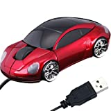 Daffodil WMS207R Wired Optical Mouse - 3 Button Car Shaped PC Mouse with Scrollwheel and LED Lights - For Laptop...