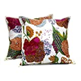 2 White Handmade Pillowcase Traditional Kantha Stitch Throw Pillow Cotton Cushion Covers