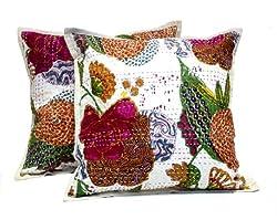 2 White Handmade Pillowcase Traditional Kantha Stitch Throw Pillow Cotton Cushion Covers