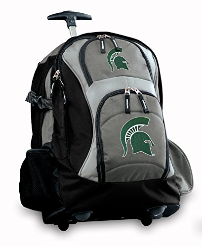 Michigan State University Rolling Backpack Deluxe Gray Msu Spartans Logo Best B
