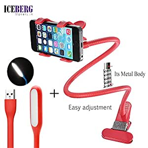 Iceberg Makers.In combo of Premium Upgraded Metal Universal Lazy Flexible Long Arm Mobile Holder Stand and USB LED Light [Red COLOR HOLDER]