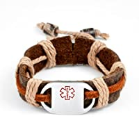 Kids Brown/ Rust Color Leather & Hemp Medical Bracelet - Engravable Front Only - Adjusts 4 1/2 - 6 Inches by StickyJ