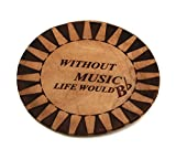 Custom Laser Engraved Leather Round Drink Coasters Music - Without music life...