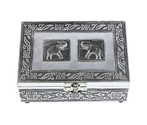 Christmas Holiday Gifts Antique Like Handmade Wooden Keepsake Jewelry Box with Chrome Texture, 7.5 x 5 inches