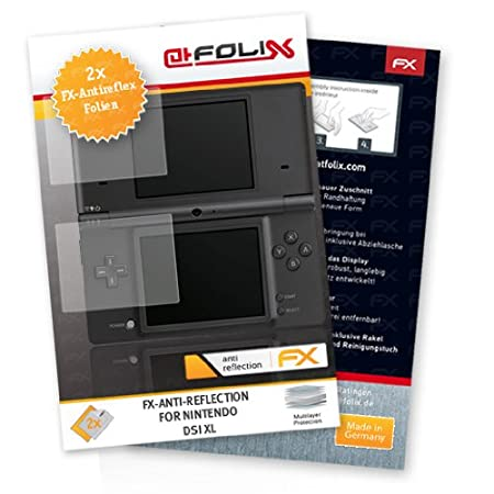 2 x atFoliX FX-Antireflex Antireflective screen protector for Nintendo DSi XL / DSiXL NDSiXL NDSi-XL - Anti-glare screen protection! Highest Quality - Made in Germany!