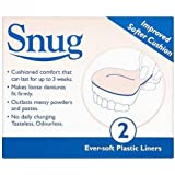 Snug Denture Cushions With Ever Soft Plastic Liner -  2 Improved Softer Cushions