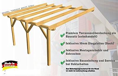 H.A.P PREMIUM 600x400 cm BxT Leimholz Terrassenüberdachung + Stegplatten + Zubehör - Unbehandelt / NATUR - ÜBERDACHUNG TERRASSENDACH HOLZ VORDACH CARPORT TERRASSE WINTERGARTEN GARTENLAUBE PAVILLON 6x4 m von H.A.P Premium Baustoffe auf Gartenmöbel von