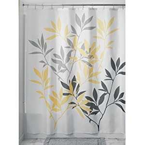 Interdesign Leaves Shower Curtain Gray And