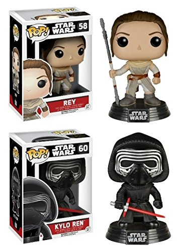 Funko POP! Star Wars: Episode VII - Rey & Kylo Ren Vinyl Bobble-Heads 2 Pack NEW