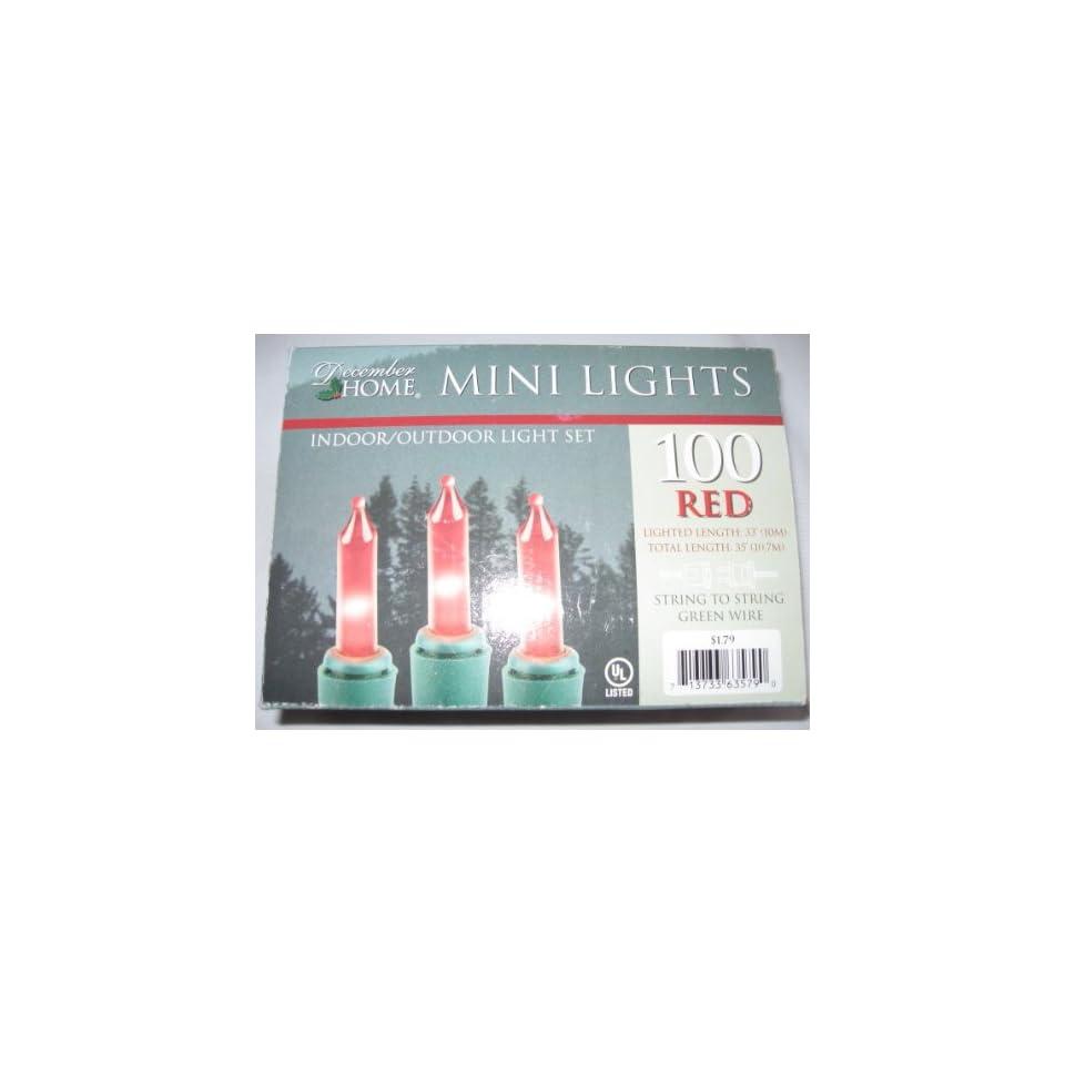 December Home 100 RED Indoor/ Outdoor Mini Lights Set