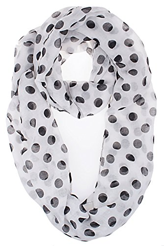 Vivian & Vincent Soft Light Weight Polka Dot Sheer Infinity Scarf White
