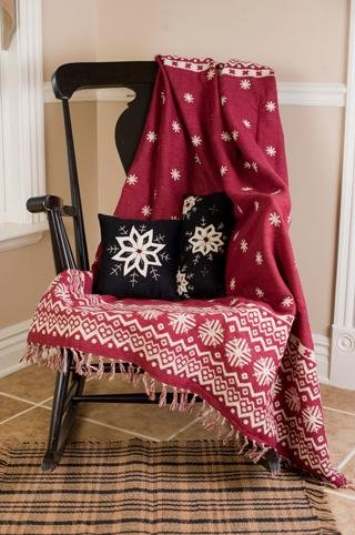 "Christmas Snowflake 50"" X 60"" Holiday Christmas Woven Throw Quilt"
