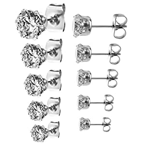 5 Pair(3,4,5,6,7mm) Round Cz 316l Stainless Steel Clear Cz Stud 6 Prong Earring Set