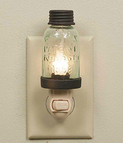 Mini Mason Jar Night Light in Rustic Brown Metal Color (Mason Jar Bathroom Lighting compare prices)