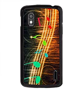 Fuson Premium 2D Back Case Cover Music is Life With yellow Background Degined For LG Google Nexus 4