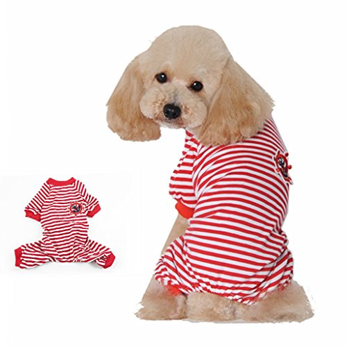 [Visky ® Dog Stripe Clothes Dog Pajamas Jumpsuit Shirt-Red,Double Extra Large] (Business Suit Dog Costume)