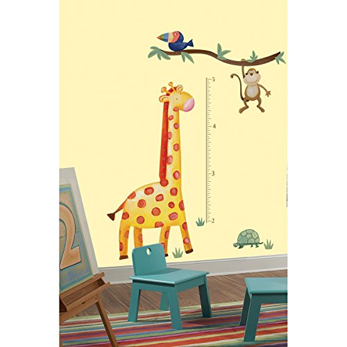 Roommates Rmk2141Gm Jungle Adventure Giraffe Peel And Stick Growth Chart front-1073157