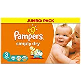 Pampers Simply Dry taille 3 (4-9 kg) Jumbo Box Midi 90 par paquet