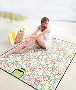 Multipurpose Outdoor Mat Perfect for Picnics Beach Park Outings with Family Friends Work School Kids Children (Floral)