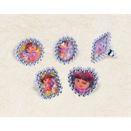 "Amscan Dora The Explorer Printed Jewel Ring Favor for Parties and Celebrations, 1 x 1"", Blue/Green/Teal/Purple"