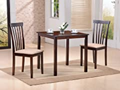 Avery Space Saver 3pc Wood Dining Room Kitchen Dinette Set
