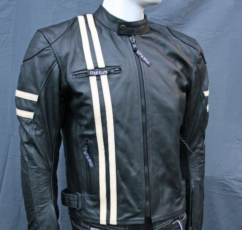 UTAH FLATS CAFE RACER Retro Biker / Motorcycle Leather Jacket - removable CE armour - Large