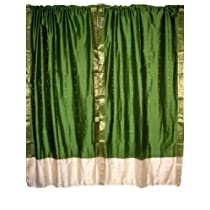 2 Curtains Lime Green Ivory Border Artsilk Sari Drapes Panels Curtains Rod Pocket
