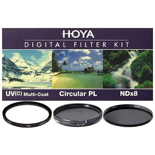 Hoya 52mm Digital Filter Kit – HMC UV(C), Circular Polarising & NDx8 with Filter Pouch