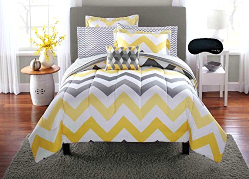 Trendy Yellow Gray Teen Girls QUEEN Chevron Comforter