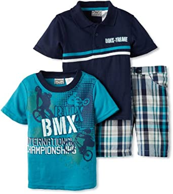 Little Rebels Little Boys' 3 Piece Bmx Treme Short Set, Navy, 4T