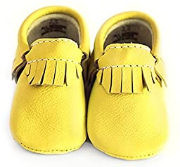 Baby Moccasins, The Coral Pear Classic Moccasin, Genuine Leather Shoes for Babies & Toddlers, Sunshine Yellow, Size 6.5M (Babies & Toddlers)