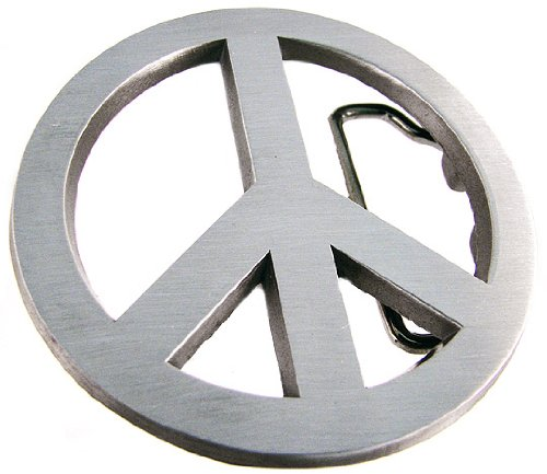 Brushed Finish Cutout Peace Sign Belt Buckle Symbol