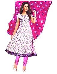 Namaskaar India White & Pink Floral Salwar Suit Dupatta Material For Women