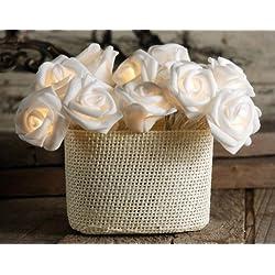 Lerway 20 LED Rosen Lichterkette Batteriebetrieben Innen Im Freien Beleuchtung für Garten Rasen Bar Verein Hochzeit Valentinstag Weihnachten (Weiß)