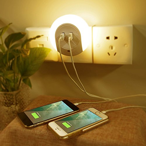 RCLITE Creative LED Night Light with Dusk to Dawn Sensor Dual USB Charger Wall Plate Warm White Lamp