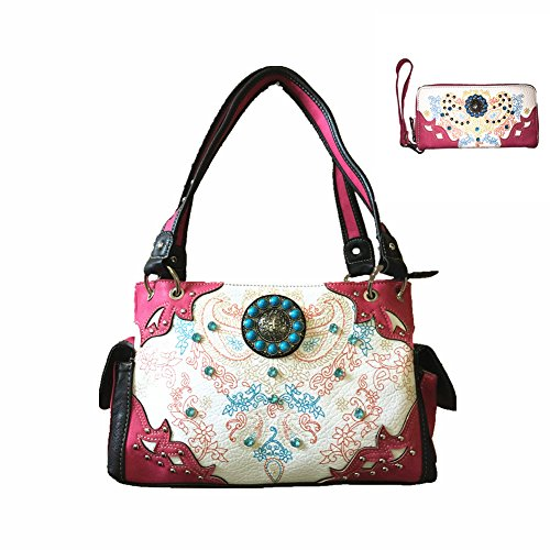 2015 Stylish Rhinestone Concho Floral Concealed Carry Leather Shoulder Handbag Purse and Matching Wallet, One Set in 5 Colors. Black, Blue, Purple, Hot Pink and Light Green (Hot Pink Set)
