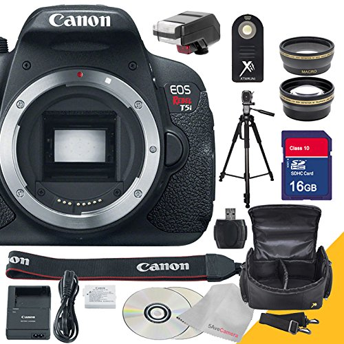 Canon EOS Rebel T5i Body Only with Full Size Professional Tripod , Flash Unit , Remote Control, Wide Angle Lens, Telephoto Lens and 16GB SDHC Class 10 High Speed Memory Card with USB SD Card Reader, Camera Case with Rain Protection and 5AveCamera Cloth