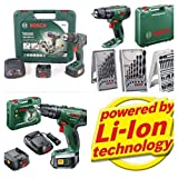 Bosch PSB 1800 LI-2 Cordless Lithium-Ion Hammer Drill Driver X2 NEW 2.0AH MODEL COMPLETE KIT PLUS X3 MIXED BOSCH ACCESSORY SETS 40 PIECES
