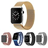 Picture Of Teslasz Mesh Replacement Strap,stainless Steel Milanese Loop Strap Magnetic Buckle Wrist Band for Apple Watch/watch Sport/watch Edition (Gold 38 MM)