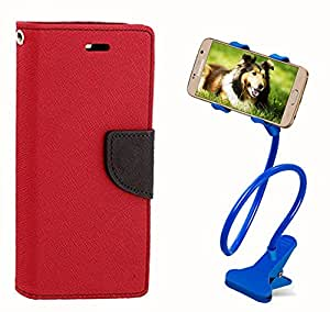 Aart Fancy Diary Card Wallet Flip Case Back Cover For Samsung J1 Ace - (Red) + 360 Rotating Bed Tablet Moblie Phone Holder Universal Car Holder Stand Lazy Bed Desktop for by Aart store.