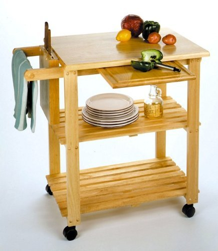 Cheap Kitchen Cart with Cutting Board, Knife Block and Shelves (B000V9AFJQ)