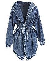 LATH.PIN Fashion Jean Manteau Capuche Veste Lache en jean Coat Hoodie A La mode Blouson Denim