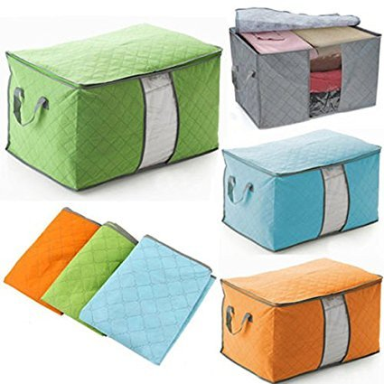 Yosoo 3 Pcs Bamboo Charcoal Large Durable Foldable Clothes Quilt Pillow Blanket Storage Zipper Bag Case Container Organizers Container Box (Blue+Green+Gray) (Storage Containers Blanket compare prices)