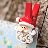 Christmas Santa Card Pegs with Curly Beards x 12by Lights4fun