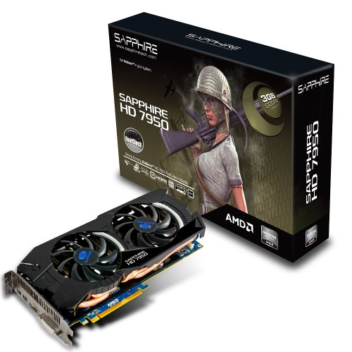 Sapphire 11196-02-40G HD 7950 3GB GDDR5 PCI-E HDMI/DVI-I/Dual Mini DP OC Graphics Card