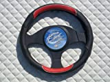 Peugeot 307 / 308 / 406 / 407 / 408 Steering Wheel Cover -SW12M Italian Leather Black-Red Sports 14.5 inches medium