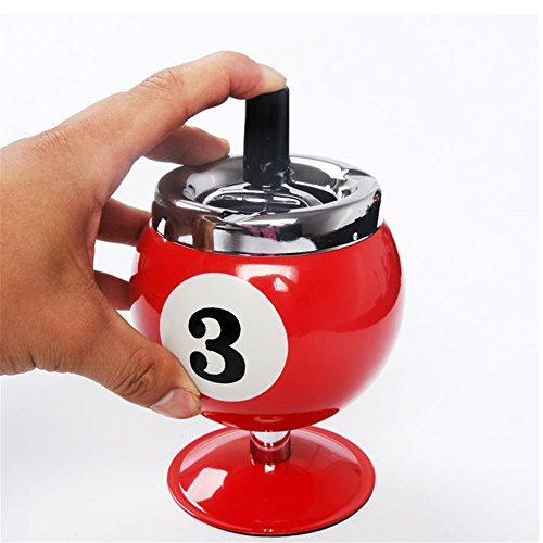 NERLMIAY 1 Piece Creative Lucky Fashional Stainless steel Billiard Ball ashtray (Yellow,Red,Black) (RED)